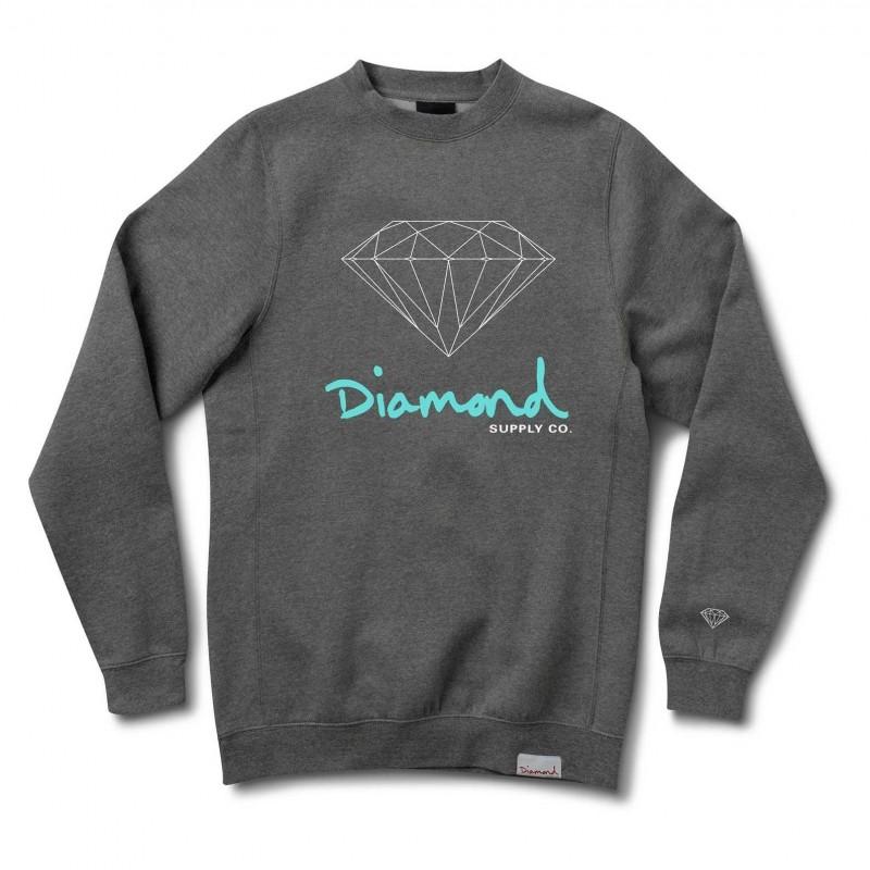 Diamond supply Felpe girocollo Og sign crew E31DIAOGSICHH