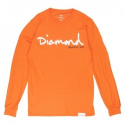 T-shirt maniche lunghe Diamond supply Og script l/s tee E219DIAOGSF18OR